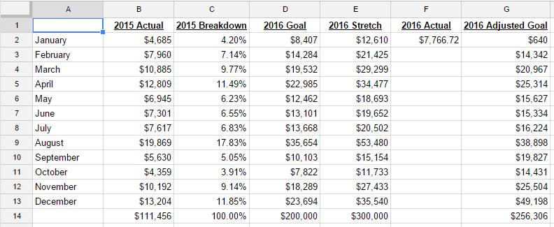 2016 Revenue Goal for Coders Startup